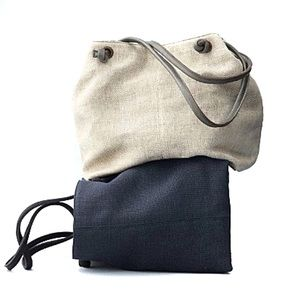 EILEEN FISHER | Linen & Leather Slouch Tote Bag